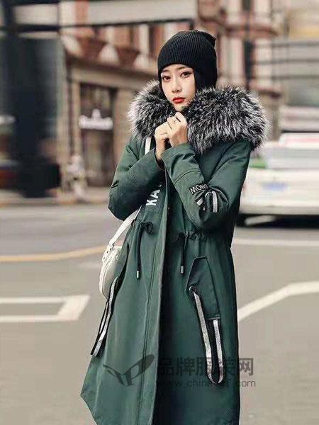 YRLM依然浪漫女装2018秋冬时尚中长款大毛领派克羽绒服