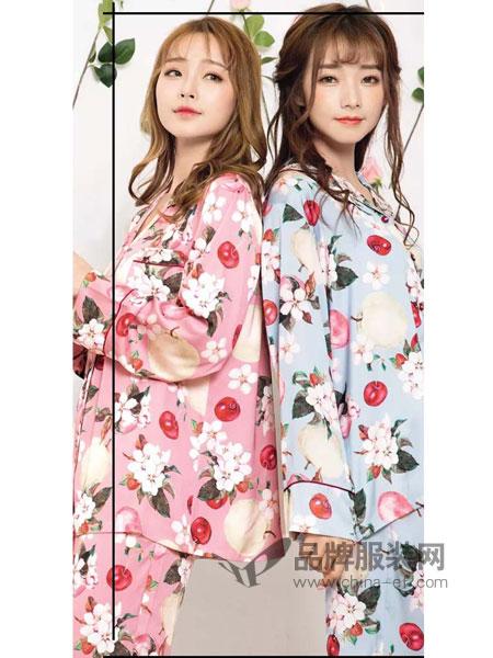 妮可雅仿丝棉女式长袖套装印花