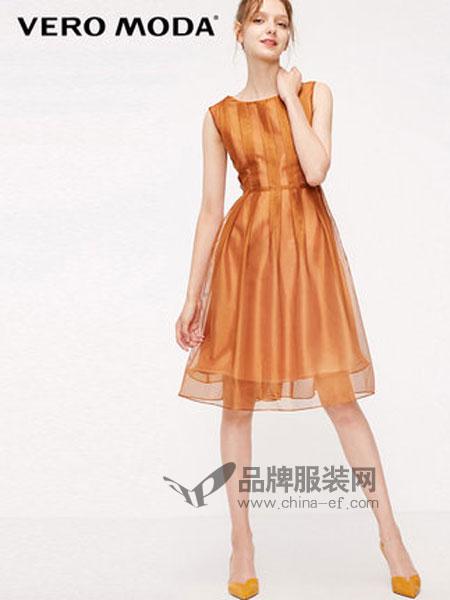 VERO MODA女装2019春季后身拉链压褶高腰连衣裙