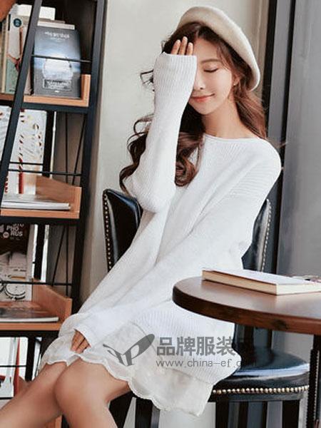 粉红大布娃娃女装2019春季宽松休闲白色两件式针织连衣裙