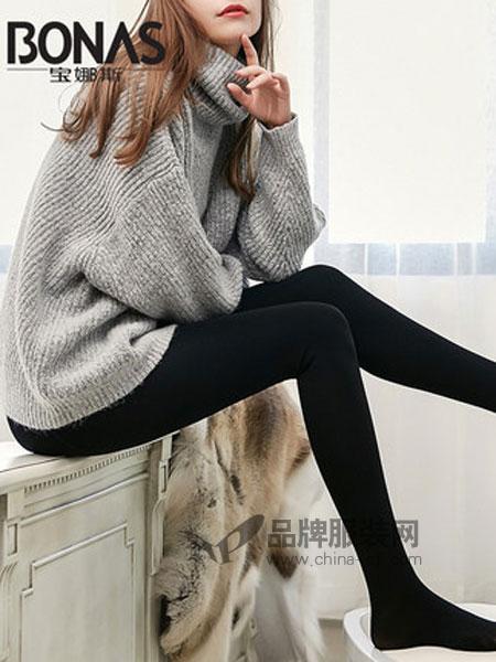 宝娜斯高腰收腹护腰一体裤踩脚高腰保暖裤袜