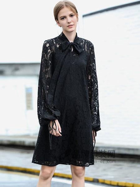 艾米女装2019春季绑带性感镂空蕾丝裙