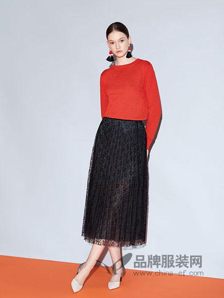 红凯贝尔女装2019春季中长款显瘦百褶a字半身裙