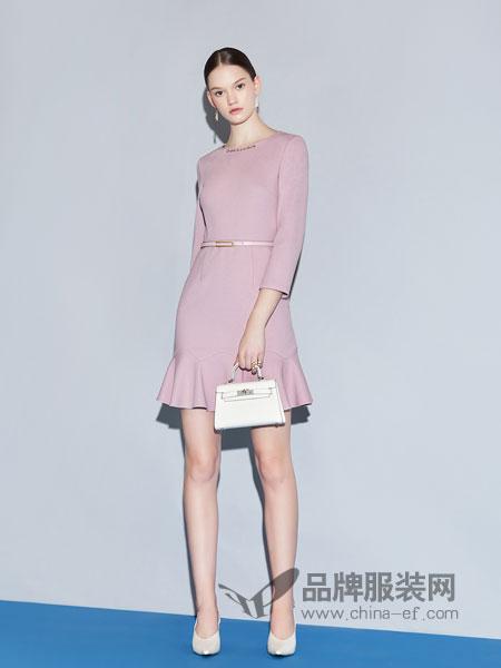 红凯贝尔女装2019春季修身气质长袖粉色连衣裙套装