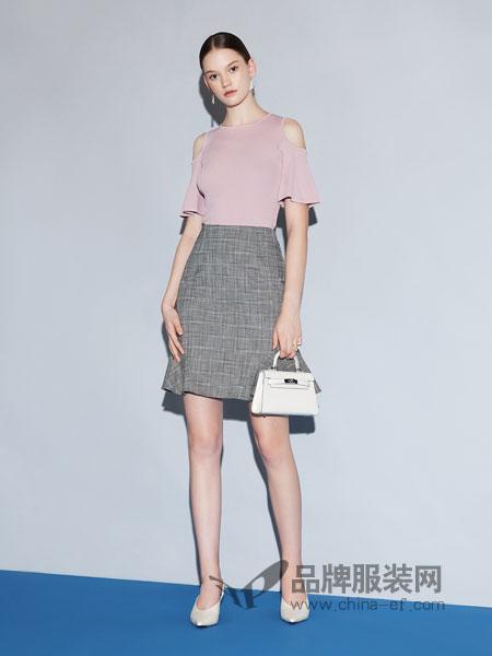 红凯贝尔女装2019春季高腰显瘦百搭复古开叉不规则a字裙短裙