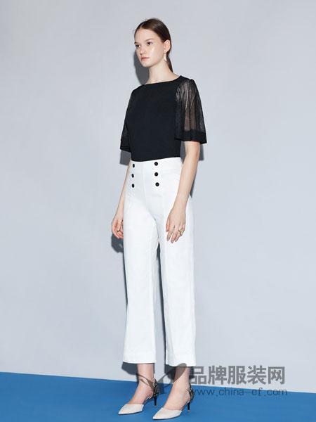 红凯贝尔女装2019春季双排扣装饰高腰阔腿修身直筒水手裤