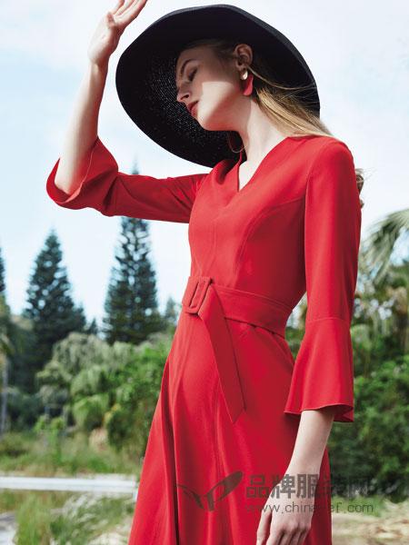 红凯贝尔女装2019春季新款V领气质复古收腰连衣裙