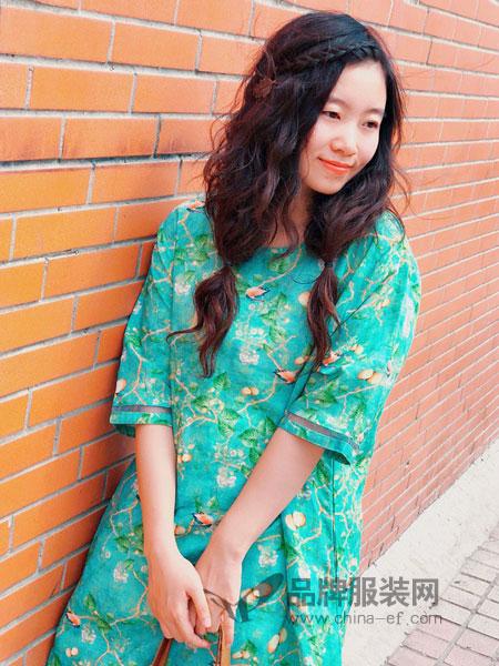 植觉女装2019春夏宽松文艺印花棉麻长裙