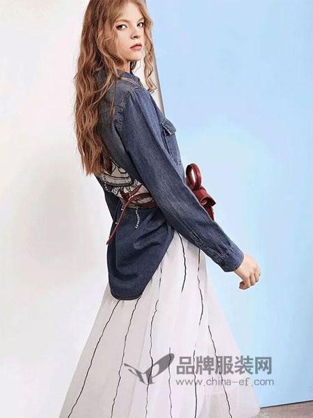 卡尼欧女装2019春季中长款网纱连衣裙两件套装