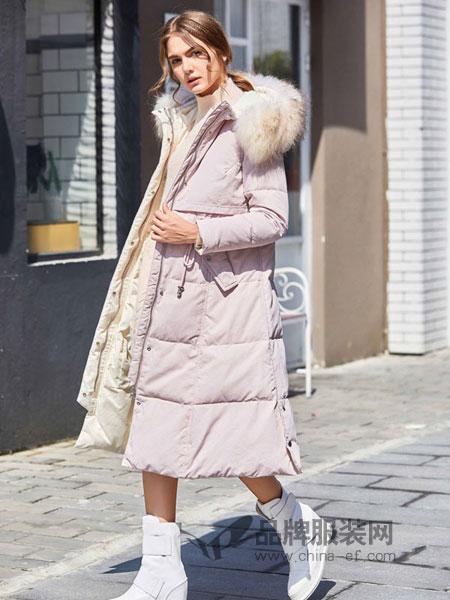 奥依岛女装2018冬季中长款时尚加厚修身过膝外套