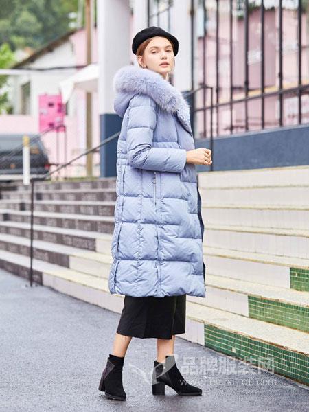 奥依岛女装2018冬季新款收腰白鸭绒过膝时尚加厚外套