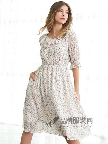 歌莉娅女装2019春季荷叶边圆领连衣裙
