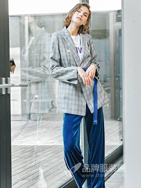 蜜古女装2018秋冬时尚格子料西装领时尚修身百搭女式外套