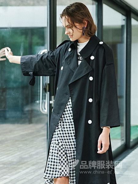 蜜古女装2018秋冬双排扣修身显瘦纯色新款外套