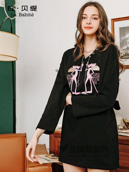 拉贝缇女装2019春季V领图案中长款卫衣连衣裙