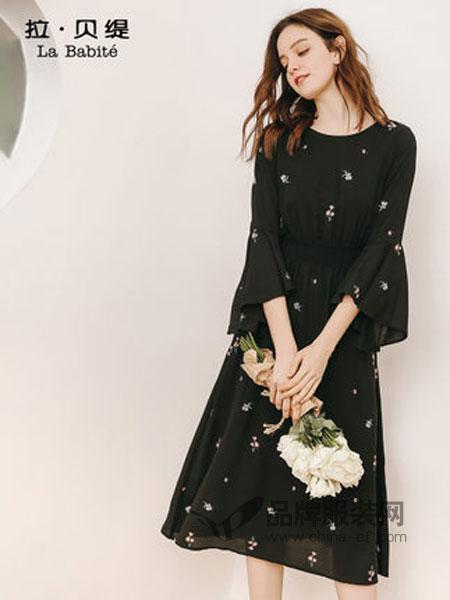拉贝缇女装2019春季喇叭袖中长款连衣裙