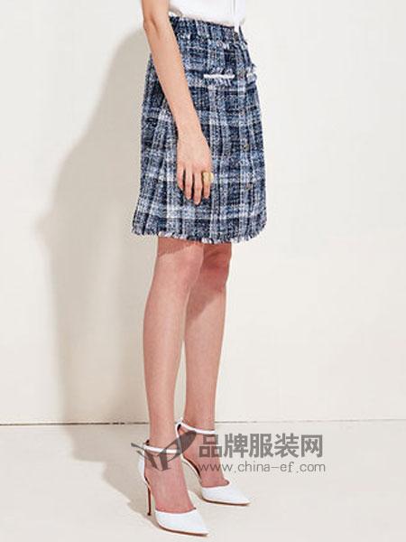 爱特爱女装品牌2019春季编制纹理时尚花色半身裙短裙