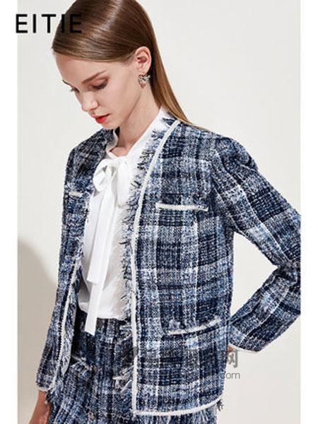 爱特爱女装品牌2019春季时尚修身立领编制纹理短外套