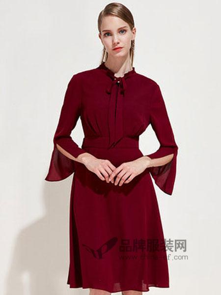 爱特爱女装品牌2019春季领口蝴蝶结拉链中腰连衣裙中裙