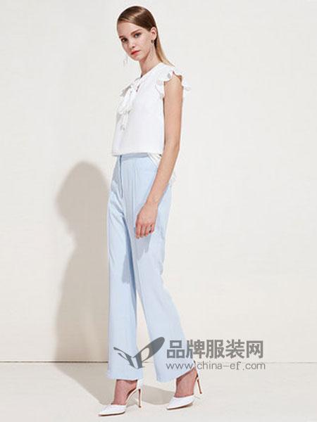 爱特爱女装品牌2019春季自然腰宽松阔腿裤简约休闲裤女