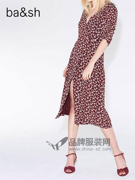 Ba&sh女装品牌2018秋冬复古V领印花连衣裙