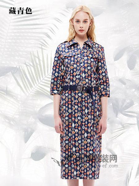 菀草壹女装品牌2019春季收腰印花翻领中袖连衣裙