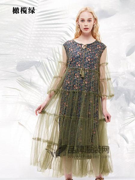 菀草壹女装品牌2019春季两件套中长款连衣裙过膝