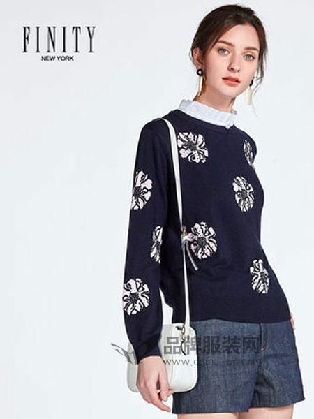 菲妮迪女装品牌2019春季荷叶领提花显瘦羊毛打底针织衫女