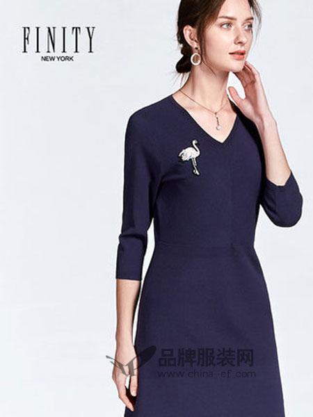 菲妮迪女装品牌2019春季V领动物图案七分袖中长款打底连衣裙