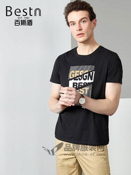 百斯盾男装品牌2019春季字母印花弹力短袖T恤