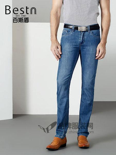 百斯盾男装品牌2019春季小直筒裤子舒适男士修身牛仔裤