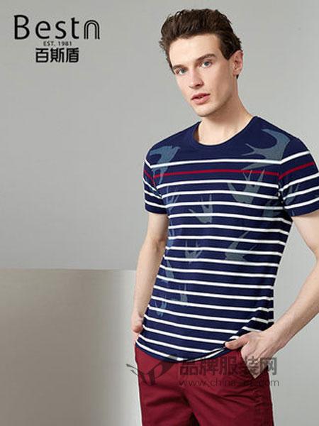 百斯盾男装品牌2019春季休闲印花条纹弹力舒适短袖T恤