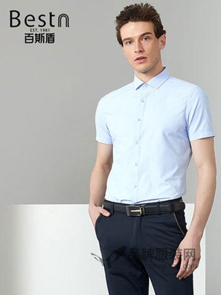 百斯盾男装品牌2019春季中青年商务职业正装短袖衬衣