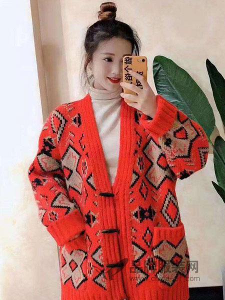 琳艾依女装2018秋冬复古宽松港风韩版网红显瘦长款开衫