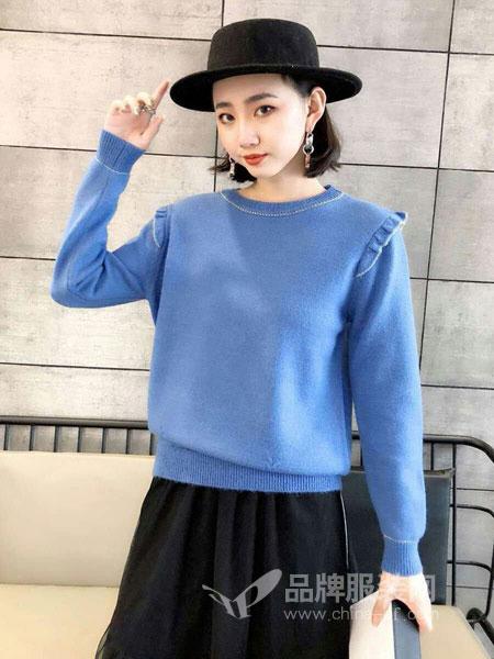 琳艾依女装2018秋冬短款上衣甜美套头毛衣