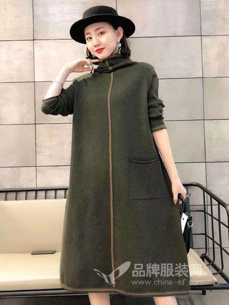 琳艾依女装2018秋冬气质毛衣裙过膝长裙
