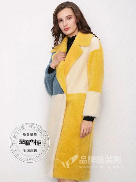 芝麻E柜女装2018冬季时尚中长款潮几何拼色颗粒羊毛绒气质大衣