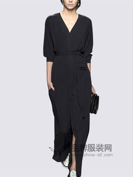 玛依尔女装品牌2019春季时尚气质修身显瘦v领长裙子