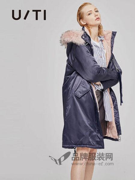 U/TI尤缇女装品牌2018秋冬直筒长袖中长款羽绒服外套女