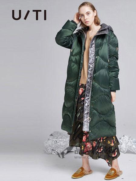 U/TI尤缇女装品牌2018秋冬连帽长款直筒休闲羽绒服女