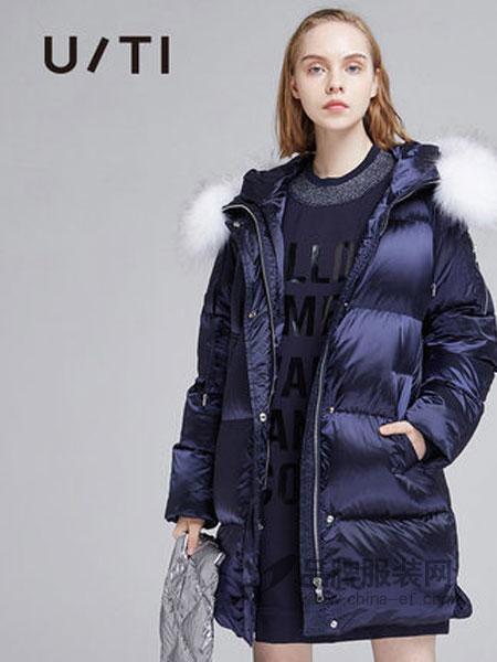 U/TI尤缇女装品牌2018秋冬直筒长袖中长款羽绒服女