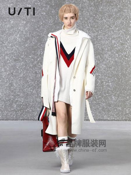 U/TI尤缇女装品牌2018秋冬撞色条纹拼接双面尼毛呢外套女