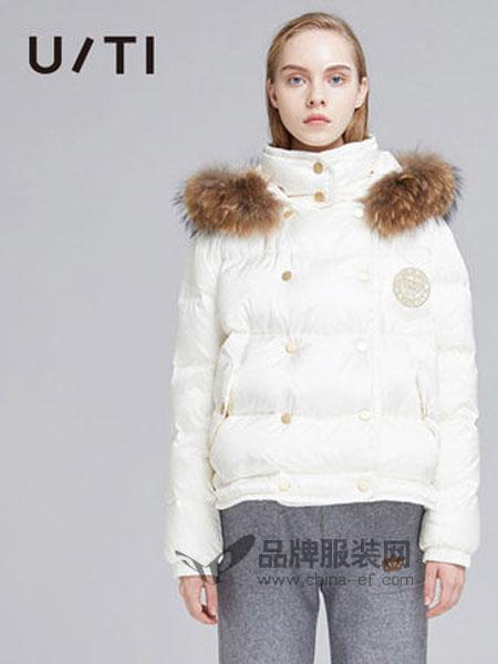 U/TI尤缇女装品牌2018秋冬直筒连帽长袖短款羽绒服女