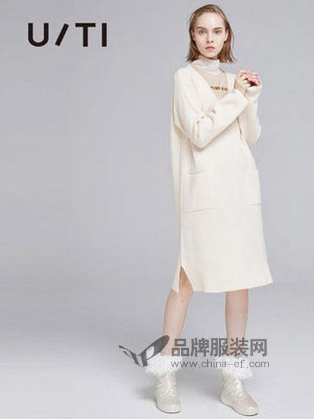 U/TI尤缇女装品牌2018秋冬半高领中长裙毛衫拼接假两件连衣裙