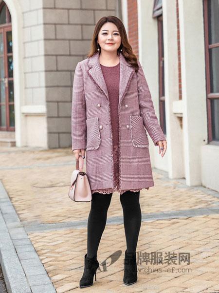 慕姗・诗怡女装品牌2018秋冬新款中长款羊毛呢子外套