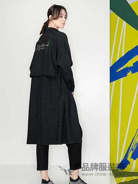 KAKO女装品牌2018冬季绑带收腰显瘦过膝长外套潮