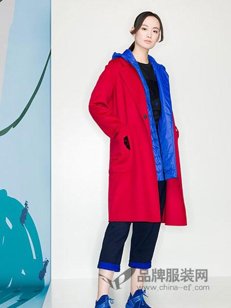 KAKO女装品牌2018冬季翻领中长款毛呢大衣外套韩版宽松呢大衣