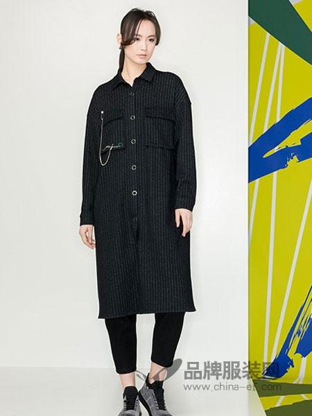 KAKO女装品牌2018冬季条纹百搭长款长袖衬衫