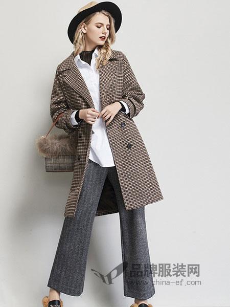 艾米女装品牌2018秋冬中长款大衣连帽毛呢外套