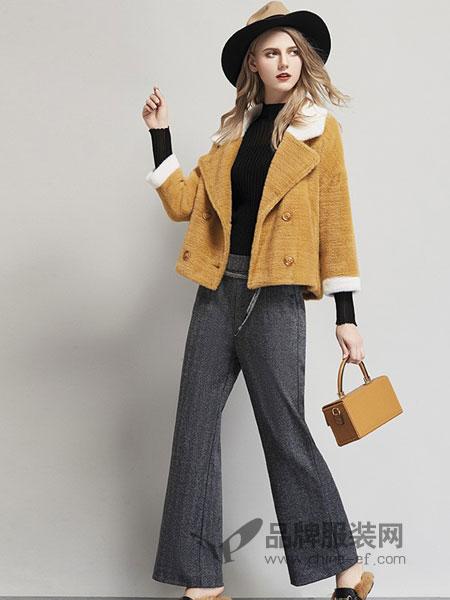 艾米女装品牌2018秋冬新款时尚大口袋羊剪绒毛呢大衣外套